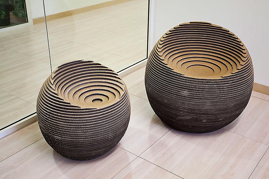 Seduta sfera in cartone ondulato tagliato a laser 55100 - Meuble en carton design ...